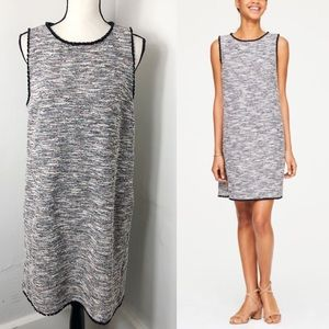 LOFT Sleeveless Multicolor Tweed Shift Dress L